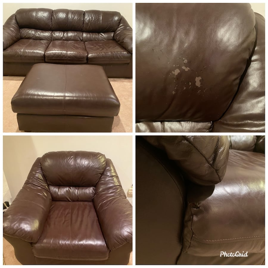 Soft brown leather sofa, chair and ottoman