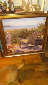 white adirondack chair near finial and green bed of grass painting in brown wooden frame Independence, 64052