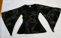 Glitter Bell Sleeve Wrap Blouse Size Large