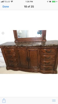 Brown wooden dresser with mirror and chest Ajax