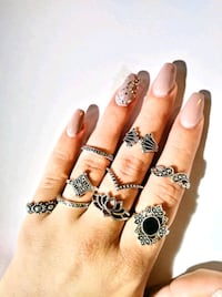Silver Bohemian Stackable Ring Set - Trendy Boho Rings Cute Jewelry