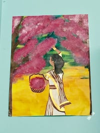 Girl picking flowers painting