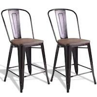 Copper Set of 2 Metal Wood Counter Chairs 方塔纳
