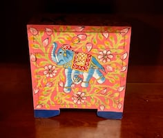 Hand Painted Elephant 4-Drawer Chest Dresser Jewelry Storage Box