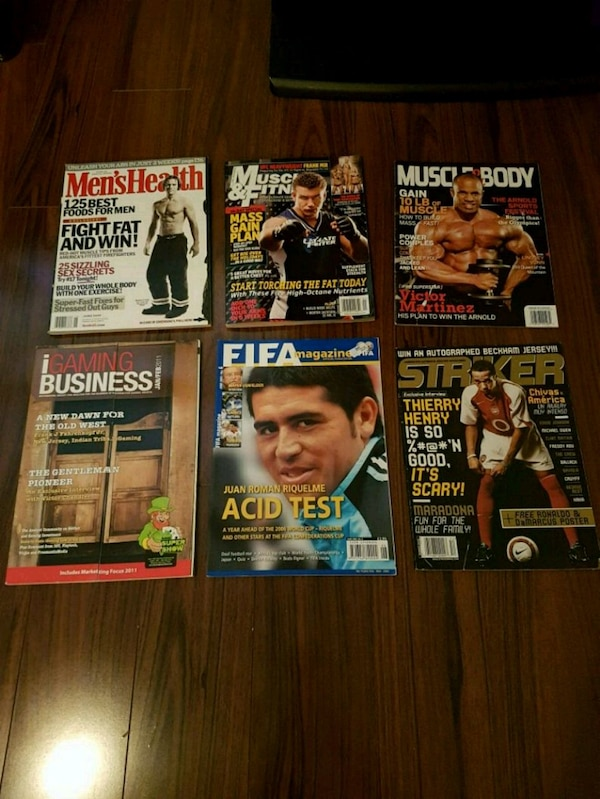 Fitness and soccer magazines