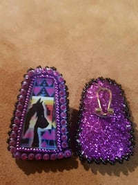purple-and-black beaded earrings Edmonton, T5G 1H3