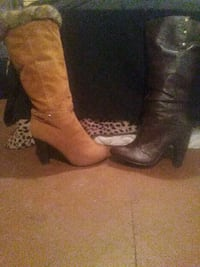 two pairs of brown and black leather boots Albuquerque, 87107