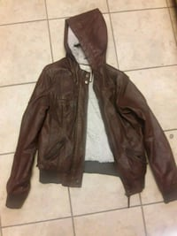size M brown  faux leather coat with fur lining. Surrey, V4N 6E4