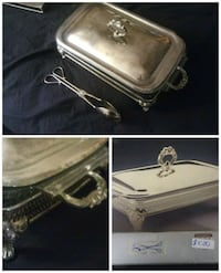 Silver plated cover glass baker Erie, 16509