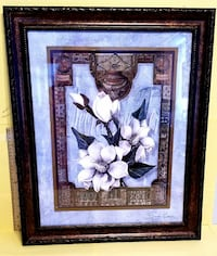 white magnolia flower painting with black frame