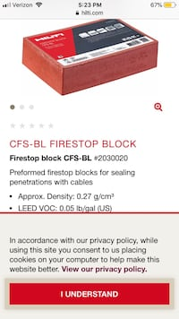 Commercial construction Hilti firebricks for wall and floor penetrations