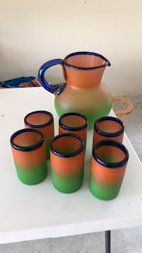 Mexican glass pitcher and glasses