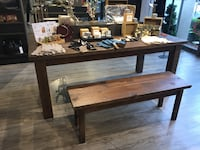 Vintage pine table, riser, & bench (each item priced separately, see details) 2388 mi