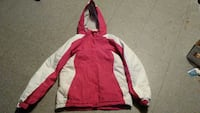 pink and white zip-up hoodie