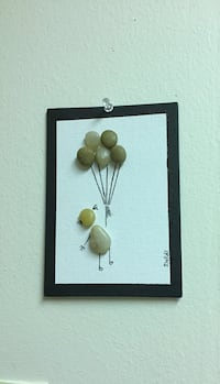 Canvas pebble art wall decor