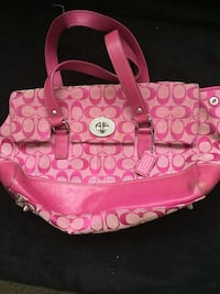 pink and white Coach monogram leather tote bag