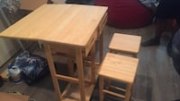 Brown Kitchen Table Cart with drawers, leaf, and stools Washington