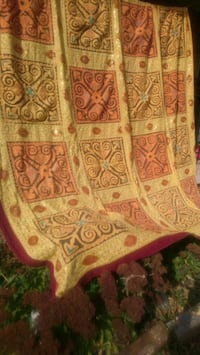 Hand stitched beaded quilted bedspread
