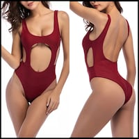 Maroon High Cut Swimsuit One Piece Sexy Hollow Out Women Monokini  Germantown, 20874