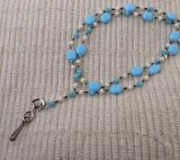 Pretty Pastel Blue Beaded ID Badge Lanyard-Hand Made-One of A Kind North Andover, 01845