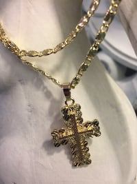 "14k Gold Plated Cross Pendant With Chain Necklace 22"" 4mm"