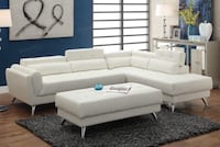 white leather sectional sofa with ottoman 2292 mi