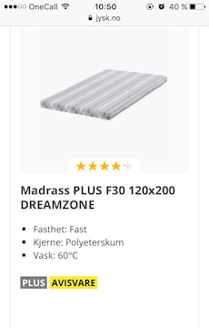 120x200 Madrass Plus F30 Dreamzone