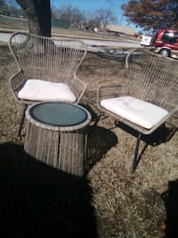 Wicker lawn chairs and table