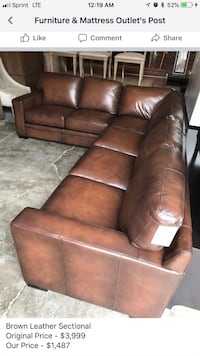 brown leather 3-seat sofa Woodinville, 98072