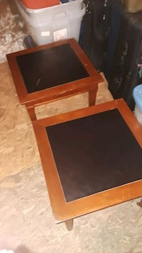 BIRDSEYE MAPLE COFFEE/END TABLES WITH BRASS ROLLERS