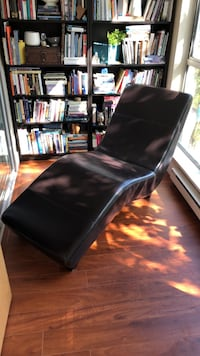 Black leather padded lounge chair Vancouver, V6J 5A5