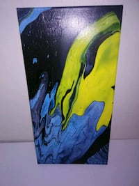 pour acrylic painting blue yellow black