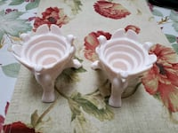Pink milk glass bird candle holders.  Minneapolis, 55446