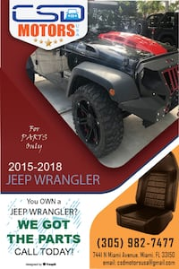 2015-2018 Jeep Wrangler for Parts and Accssories MIAMI