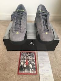 Air Jordan 14 Gray suede with green logo. Brand New size 8 Ajax, L1S 1N9