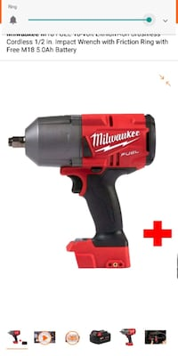 1/2 inch impact wrench w/5.0 battery/rapid charger Milwaukie, 97222