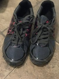 pair of black-and-red running shoes