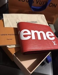 red Supreme and Louis Vuitton leather bi-fold wallet