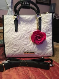 White and black leather two-way bag Carson, 90745
