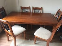 Rectangular brown wooden table with four chairs dining set Dundas, L9H 1A2