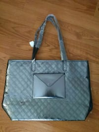 gray leather quilted tote bag