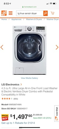 LG washer  & dryer perfect condition like new Bel Air, 21015