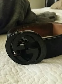 black Gucci leather belt with silver buckle Warren, 48093