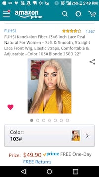 brand new! Fushi brand blond synthetic front lace