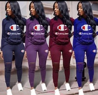 four women's assorted-color Champion sweatsuit collage 1205 mi