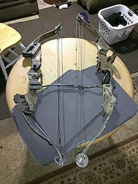 two gray compound bows