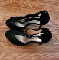 pair of black leather ankle strap heeled shoes Rockville, 20851