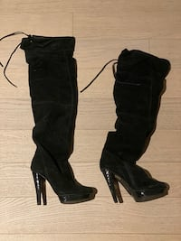 THIGH HIGH SUEDE BOOTS, BLACK SZ 8.