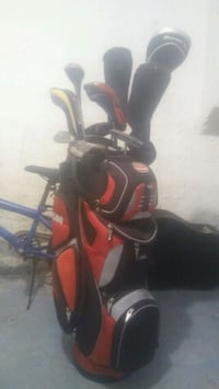 black and red golf bag set