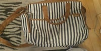 brown and black striped tote bag Montréal, H1S 3B6